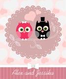 Invitation de mariage avec le hibou Photo stock