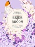 Invitation de mariage avec le lilas illustration de vecteur