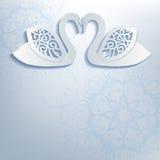 Invitation de mariage avec les cygnes blancs Photographie stock libre de droits
