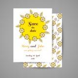 Invitation de mariage avec les fleurs jaunes Photos stock