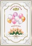 Invitation de mariage avec un bouquet des roses et des ballons Photos stock