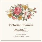 Invitation de mariage Belle mauve de ketmie de Rose de camomille de fleurs illustration libre de droits