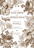Invitation de mariage Belle mauve de ketmie de Rose de camomille de fleurs illustration stock
