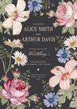 Invitation de mariage Belle mauve de ketmie de Rose de camomille de fleurs Carte de voeux de cru Vue Gravure de dessin illustration de vecteur