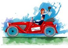 Invitation de mariage de vintage avec des jeunes mariés montant la rétro voiture Image libre de droits