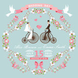 Invitation de mariage de vintage Cadre floral, jeune mariée, GR Photographie stock