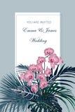 Invitation de mariage, feuilles tropicales et composition en fleurs, style d'aquarelle illustration de vecteur