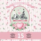 Invitation de mariage Jeune mariée, marié, roses d'aquarelle Photo libre de droits