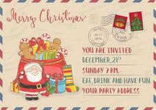Invitation de Noël de vintage avec des timbres-poste illustration libre de droits