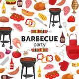 Invitation de partie de barbecue Conception de menu de calibre de BBQ Insecte de nourriture Photographie stock libre de droits