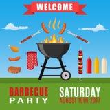 Invitation de partie de BBQ ou de barbecue Image libre de droits