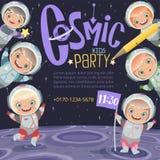 Invitation de partie d'enfants Fond de l'espace de la bande dessinée des enfants d'astronautes avec l'endroit pour le vecteur des illustration libre de droits