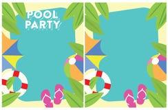 Invitation de partie d'été de réception au bord de la piscine Photo stock