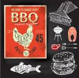 Invitation de partie de barbecue Conception de menu de brochure de BBQ Images stock