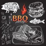 Invitation de partie de barbecue Conception de menu de brochure de BBQ Images libres de droits