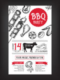 Invitation de partie de barbecue Conception de menu de calibre de BBQ Insecte de nourriture illustration stock