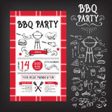 Invitation de partie de barbecue Conception de menu de calibre de BBQ Insecte de nourriture illustration de vecteur