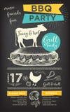 Invitation de partie de barbecue Conception de menu de calibre de BBQ Insecte de nourriture Image libre de droits
