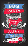 Invitation de partie de barbecue Conception de menu de calibre de BBQ Insecte de nourriture Image stock
