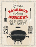 Invitation de partie de barbecue de vintage illustration libre de droits