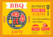 Invitation de partie de barbecue Insecte de calibre de BBQ Images stock