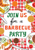 Invitation de partie de BBQ Photographie stock