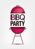 Invitation de partie de BBQ de barbecue avec le gril logo illustration de vecteur
