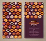 Invitation de partie de Halloween avec les icônes plates de vacances en cercles Image stock