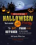 Invitation de partie de Halloween avec le château de Dracula Photos stock