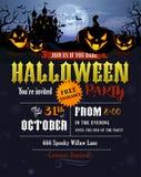 Invitation de partie de Halloween avec le château de Dracula Images libres de droits
