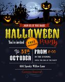 Invitation de partie de Halloween avec le château de Dracula Image stock