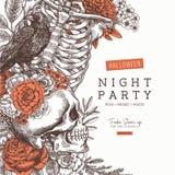 Invitation de partie de Halloween Fond floral d'anatomie de vintage Illustration de vecteur illustration de vecteur