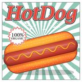 Invitation de partie de hot-dog de vintage Photos libres de droits
