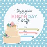 Invitation de partie de joyeux anniversaire avec la décoration et le gâteau floraux Photos stock