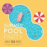 Invitation de réception au bord de la piscine d'été Calibre d'insecte ou de bannière DES plat illustration libre de droits