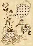 Invitation de thé avec la théière et la tasse de thé Photos libres de droits