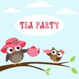 Invitation de thé avec les hiboux mignons illustration stock
