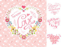 Invitation de vintage, carte de voeux Coeur floral illustration stock