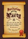 Invitation de vintage sur le parchemin illustration stock
