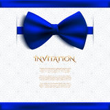 Invitation decorative card with blue bow Royalty Free Stock Photography