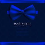 Invitation decorative card with blue bow Stock Photography