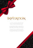 Invitation decorative card with red bow and shiny glitter Stock Photos