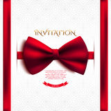 Invitation decorative card with red bow Royalty Free Stock Photo