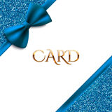 Invitation decorative card template with blue bow and glitter Stock Images