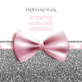 Invitation decorative card template with bow and silver glitter Royalty Free Stock Photography