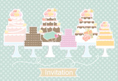 Invitation design with decorative cakes Royalty Free Stock Photography