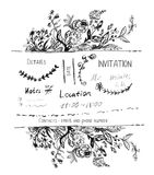 Invitation design with hand drawn flowers and borders Royalty Free Stock Photos