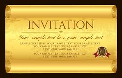 Invitation design. Medieval old vintage scroll parchment paper. Charter stock illustration