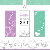 Invitation design set elements. Three cards decorated with hearts, leaf, bird singing, and a romantic texture in pink, white or green, for occasion as Saint Royalty Free Stock Image