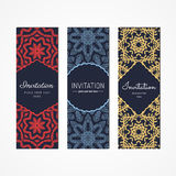 Invitation design vector set. Geometric abstract vintage design. Red, blue and yellow Royalty Free Stock Photography